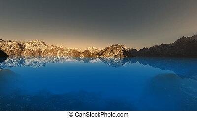 loop rotate camera on mountain lake at sunset