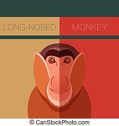 Long-nosed monkey flat postcard - Vector image of the...