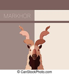 Markhor flat postcard - Vector image of the Markhor flat...