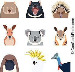 Australian animals flat icons - Vector image of the...
