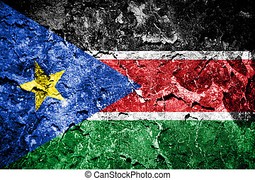 South Sudan Flag painted on concrete wall