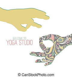 Yoga mudra - Logo for yoga studio. Two hands making yoga...