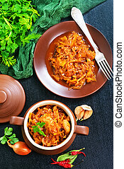 stewed cabbage with tomato sauce and spice