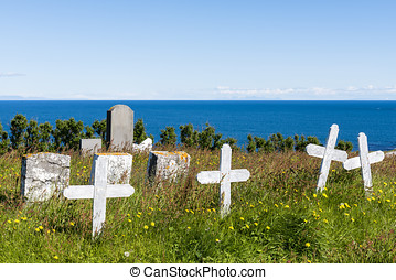 Graveyard at  at Hellnear with ocean