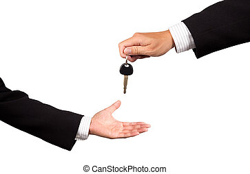 businessman receiving car key - businessman receiving car...