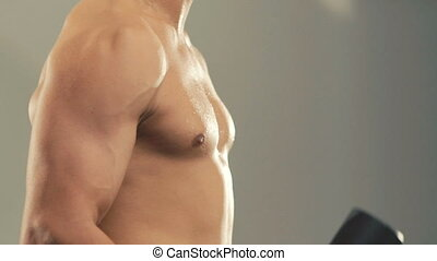 Profile of bodybuilder training with the loads for arms muscles in gym