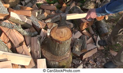 Farmer chopping wood outdoors - Farmer chopping firewood...