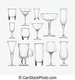 Set of cocktail stemware and glasses for alcohol - Vector...