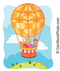 Little kids fly on the big air balloon