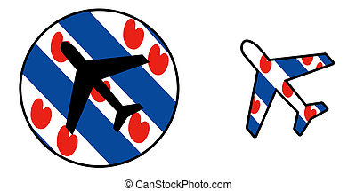 Nation flag - Airplane isolated - Friesland - Nation flag -...
