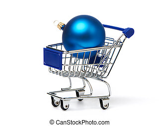 Shopping carts and Christmas blue balls isolated