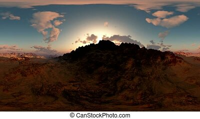 panorama of canyon timelapse at sunset. made with the one VR...