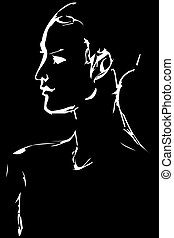 sketch of the profile of a young woman - Black and white...
