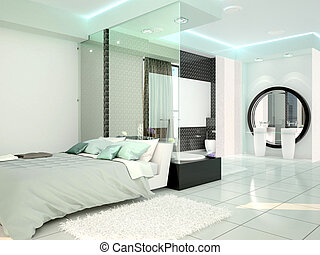 bedroom with bathroom in a modern high-tech style. 3d illustration