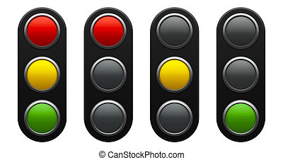 Traffic light schematic - red, yellow, green - isolated on...