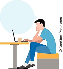 freelancer at work. - Freelancer at work. The young man sits...