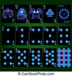 Playing cards series Neon Zodiac signs . Club suit playing cards full set.