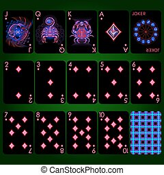 Playing cards series Neon Zodiac signs . Diamond suit...