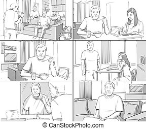 Storyboards couple homelife breakfast shaving