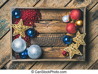 Christmas or New Year holiday decoration background, copy...