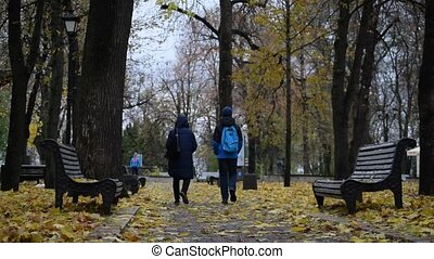 Woman and teenager boy walk in autumn in park