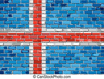 Flag of Iceland on a brick wall