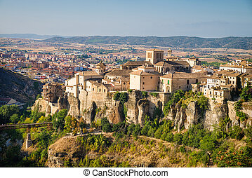 Cuenca old town sitting on top of spectacular cliffs,...