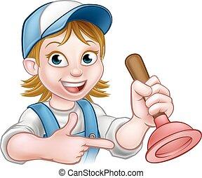 Woman Plumber Holding Plunger - A handyman plumber cartoon...