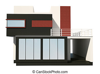 Front of modern private house exterior 3d render