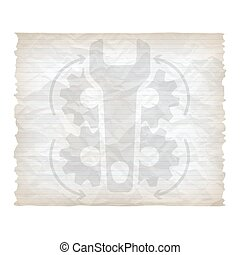 Vector crumpled lined paper with spanner and cogwheels