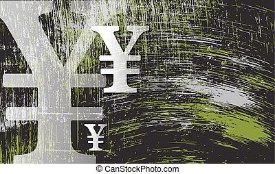Scratched background and transparent yen symbol