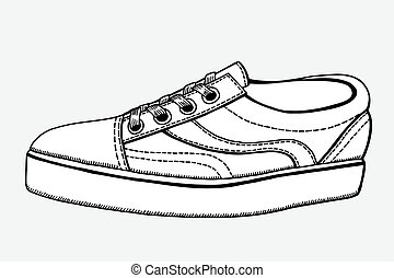 Vector Sketch Illustration - Single Side View Skaters Shoes...