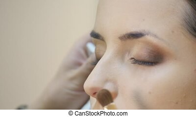 Eye makeup woman applying eyeshadow powder.