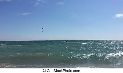 Kiteboarding On Waves In Sea, Kite Surfing, Extreme Sport,...