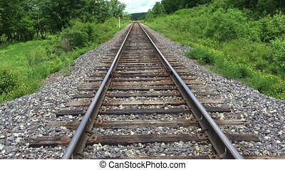 Railroad tracks stretching into the distance.