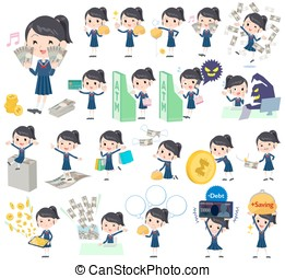 school girl Sailor suit money - Set of various poses of...