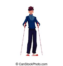 Young Caucasian man with ski and poles, cartoon vector...