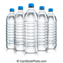 Group of plastic drink water bottles - 3D render...