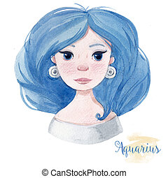 Watercolor horoscope sign aquarius - Beautiful watercolor...