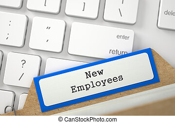 Card Index with New Employees. 3D. - New Employees. Blue...