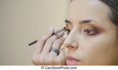 Makeup. Woman Make-up Applying closeup. Eyeliner. Cosmetic...