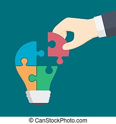 People Hand Put A Part Of Colorful Light Bulb Puzzle.  Idea, business, solution, work, insight, brainstorm concept