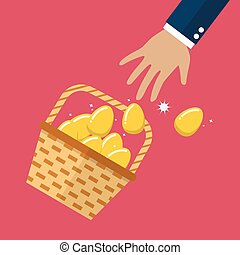 Golden eggs in basket slipped out of the hand. Vector...