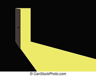 Light from the open door. Vector illustration.