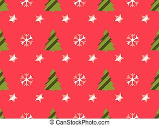 Christmas seamless pattern with Christmas trees, snowflakes and stars. Vector illustration.