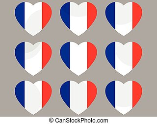 Hearts with the French flag. Vector illustration.