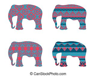 Indian elephant pattern. Set of vector illustrations.