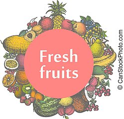 Vector mark sticker sign icon of fresh fruits - Vector...