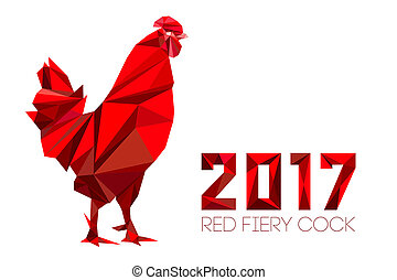 Cock - Rooster, symbol of New 2017 - Cock and numbers 2017...