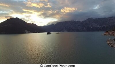 aerial view of Perast city in Kotor bay on the sunset -...